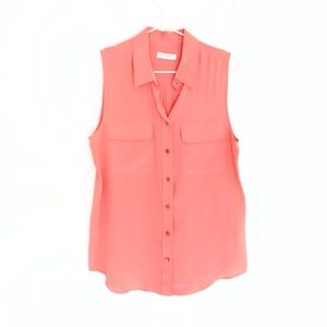 Equipment sleeveless silk button up blouse coral s
